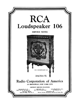 RCA RCALoudspeaker 106 Service Notes cover
