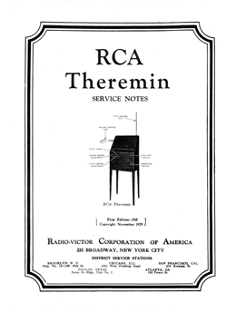 RCA Theremin Service Notes cover