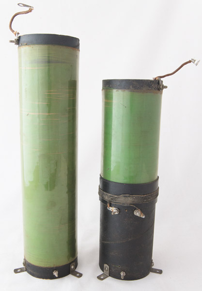 Green silk insulated wire and >celluloid protective sleeves on coils
