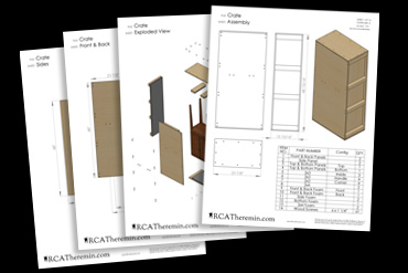 A spread of a few pages from the Theremin Shipping Crate Plans