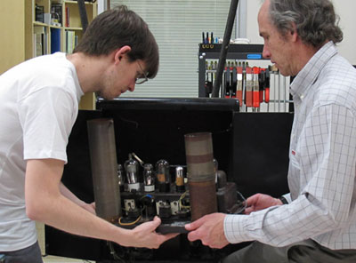 Mike and Andrew with Clara Rockmore's RCA Theremin